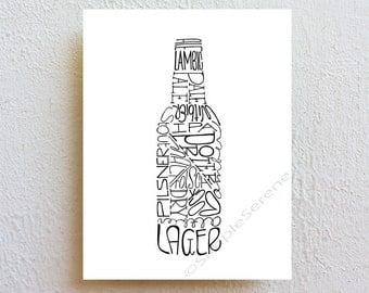 Beer Art Print, beer sign bar decor, beer bottle typography kitchen art, man cave decor, beer lover gift for him dad/husband/boyfriend