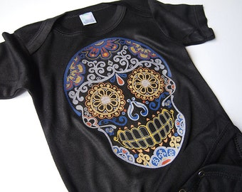 Baby Sugar Skull shirt size 0, 3, 9, 12 months Cotton Day of the Dead kids clothing