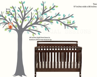 Owl tree decal, Blowing Tree, Owl Nursery Art, owl wall decal, nursery owl decor, Logan Design