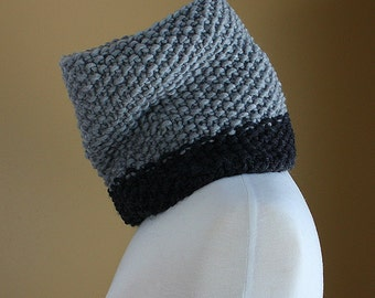 Chunky Colorblock Cowl Neck Warmer - Stone Grey and Charcoal Grey