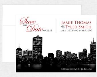 Boston City Skyline Save the Date - Boston Wedding - City Wedding - Custom Colors - Digital or Printed Options