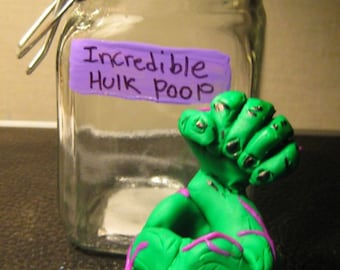 The Incredible Hulk  Poop in a Jar/ Specimen Jar / Comic Book/ Unicorn poop/Fantasy Geekery Voodoo Zombie, Fairy, Oddities Shelf