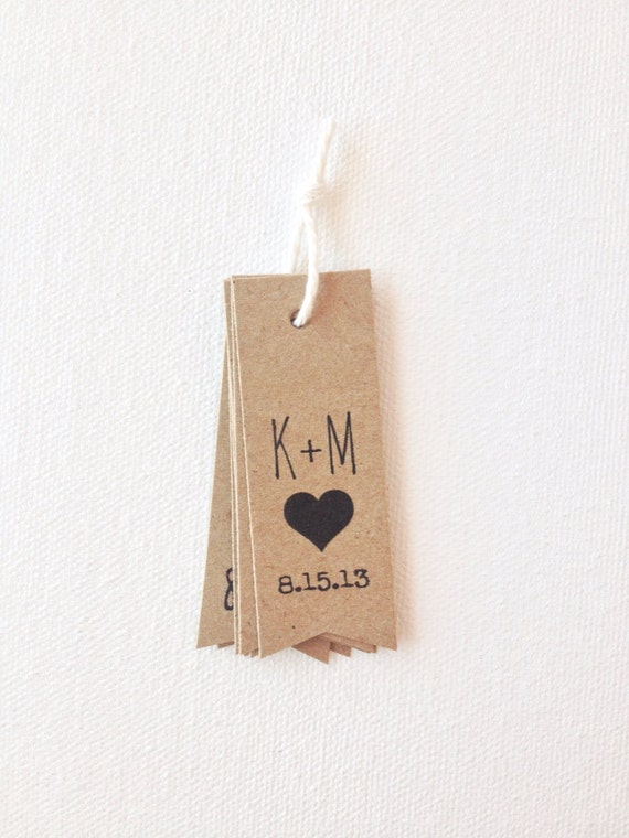 Wedding favor tags - rustic initials wedding tags with a heart - kraft brown paper tags - wedding favors