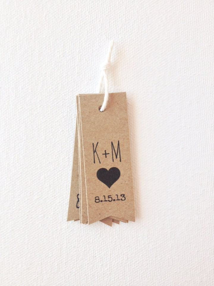 wedding favor tags rustic initials wedding tags with a heart