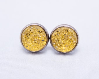 Natural Textured Faux Druzy Sparkle Earrings In Bright Citrine Yellow - Gunmetal Metallic Black Setting - One Pair