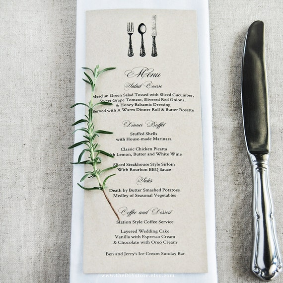 "DIY Menu, Vintage Cutlery, 3.75 x 10"" Text Editable Template for Home Printing, Wedding Menu, INSTANT Dowload"