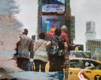 Times Square in a Puddle, NYC Photograph, New York City Reflection, Colorful Photo Print