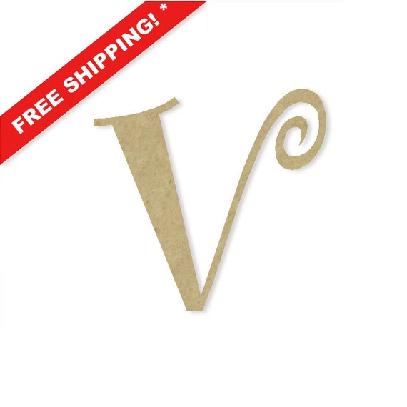 Decorative wooden letters v large or small unfinished by for Small wooden numbers craft