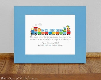 Personalized Train with Bible verse in bright Primary Colors.  Boys Baptism Gift,  Adoption Gift, Baby Gift , First Communion Gift.
