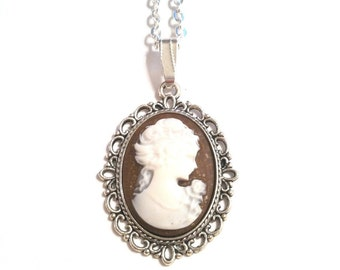 Cameo Necklace - BROWN / Girl with Ponytail / Lead and Nickel Free / Cadium Free