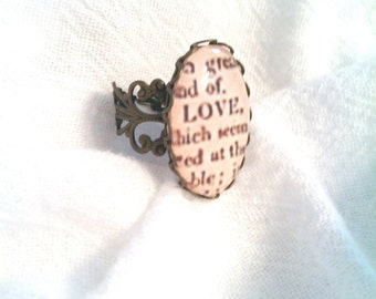 Love Dictionary Definition Ring, Dictionary Ring, Dictionary Jewelry, Definition Jewelry (LEAD and NICKEL FREE)