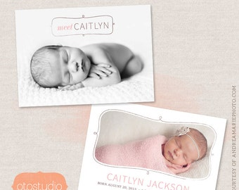 Birth Announcement Card Template - Ornate Frame CB006 - for Photographers PSD frame