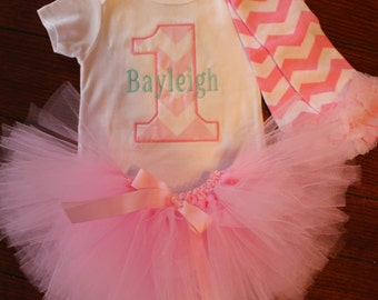 GIRL Chevron Personalized number 1 First 1st birthday tutu OUTFIT shirt birthday outfit embroidered monogram pink chevron leg warmers