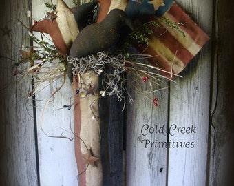 Primitive Americana Stocking with Crow & Stars Wall Hanger