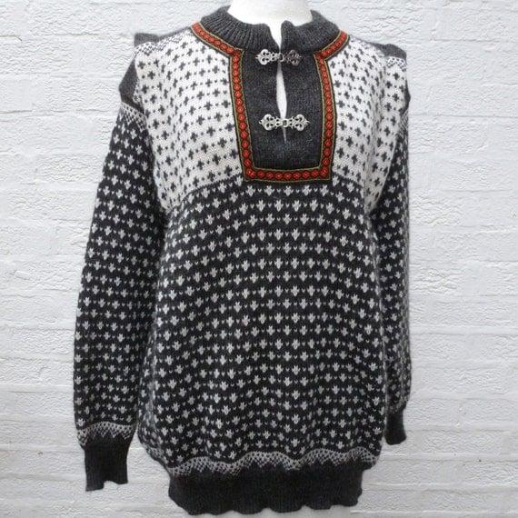 Sweater Norwegian Clothing 1980s Wool Sweater Nordic Clothing