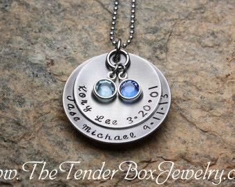 Cupped Mothers Necklace personalized hand stamped jewelry necklace with Swarovski birthstones