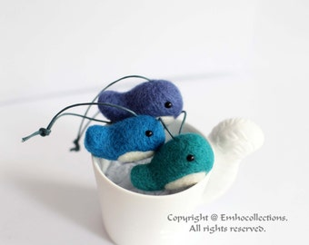 Whales Ornament Needle Felted Aqua The Baby Whales Ornament - Handmade Baby Blue Whales Family - Christmas Ornament - Ready to ship