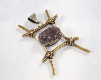 Hand Crafted Special Design Amethyst Pendant - Christmas Gift Idea - Ready to Ship