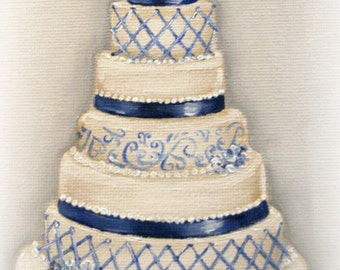 Custom Wedding Cake Painting in OIL by LARA 8x10 Bridal Illustration