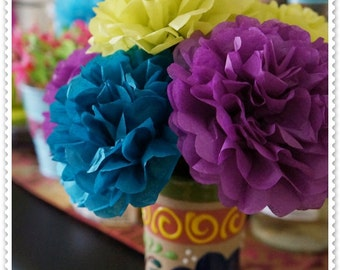 Peacock Color Combination Tissue Paper Flowers (12 count)