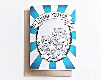 Beary Cute A6 Thank You Card - Everyone