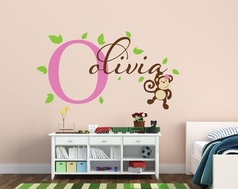 Delicieux Monkey Wall Decal Monkey Name Decal Jungle Decal Swinging Monkey Decal  Nursery Decor   Jungle Decal