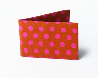 Travel Card Holder, Credit Card Wallet, Oyster Card Case, Subway Card Holder - Burnt Sugar and Raspberry Pink Polka Dots Fabric Wallet