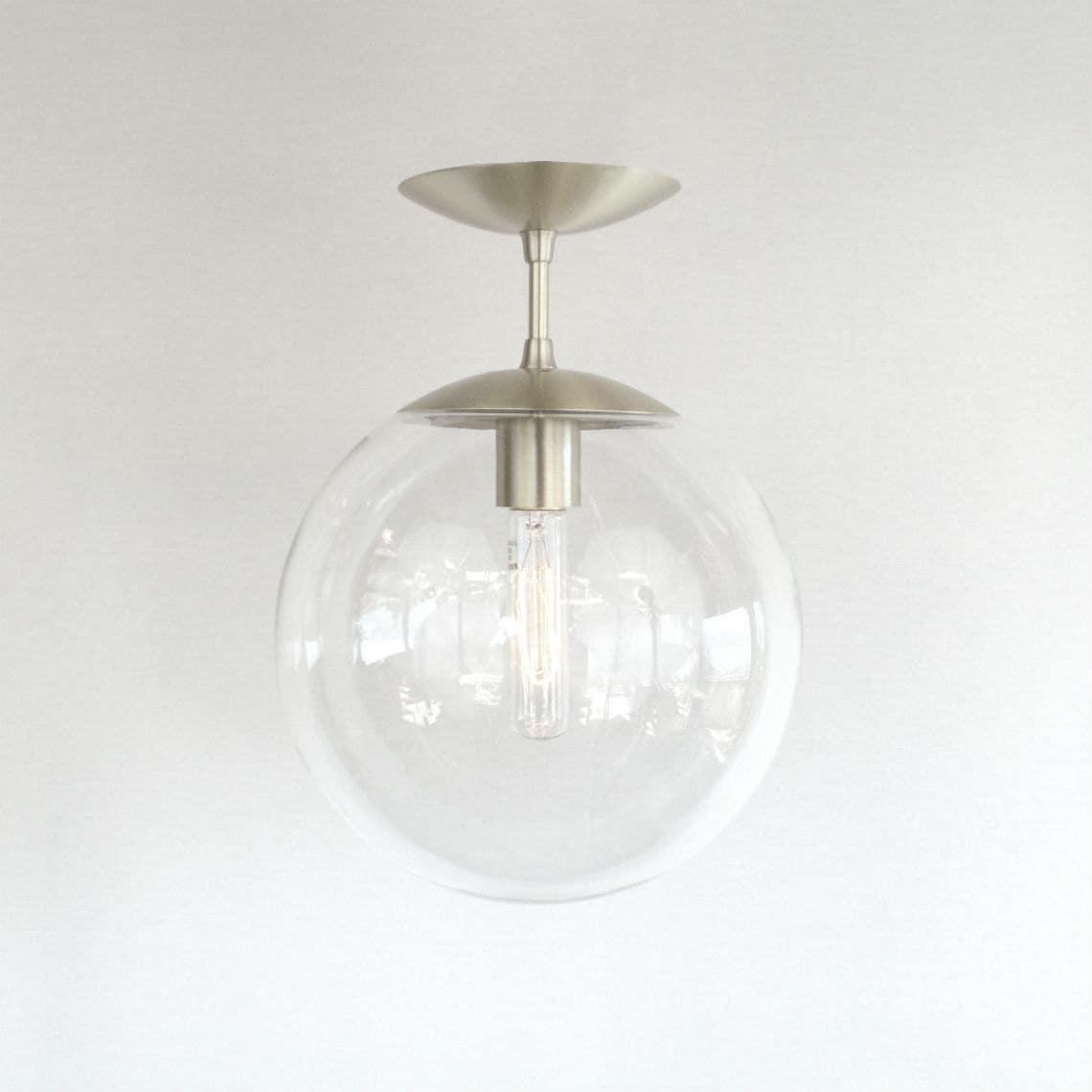 Mid Century Bathroom Light Fixtures: Modern Mid Century Semi Flush Clear 10 Globe Pendant