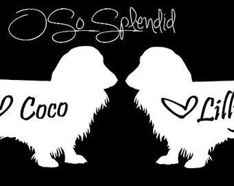 Two Longhaired Dachshund Car Decals - Long-Haired Doxie Silhouette - Personalized Long Haired Wiener Dog - You choose color & custom text