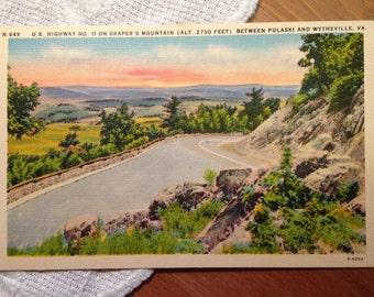 Vintage Postcard, U.S. Highway No. 11, Draper's Mountain, Viginia - 1940s Linen Paper Ephemera