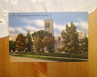 Vintage Postcard, First Presbyterian Church, Roanoke, Virginia, 1940s Linen Paper Ephemera