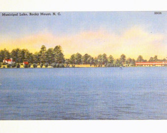 Vintage Postcard, Municipal Lake, Rocky Mount, North Carolina - 1940s Linen Paper Ephemera
