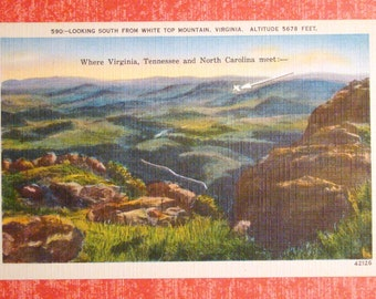 Vintage Postcard, White Top Mountain, Virginia - 1940s Linen Paper Ephemera