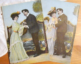 Antique Postcard - Young Edwardian Couple - Early 1900s Romantic Paper Ephemera