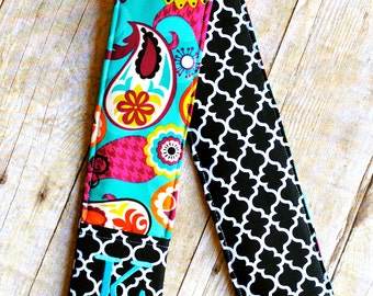 Monogrammed camera strap cover- Turquoise paisley