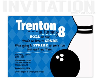Bowling Invitation, Bowling Party Invitation, Bowling Party, Bowling Birthday Invitation, Bowling Party Invite, Personalized Invitations|219