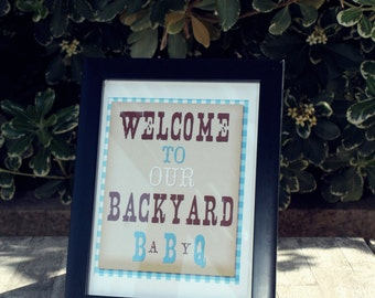 Baby-Q Blue Collection printable Welcome Sign Instant download-By Sweet Willow Designs