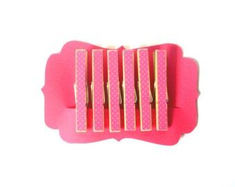 Decorative Clothespins--Tiny Polka--Pink