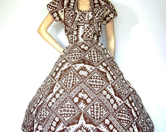 Vintage 40s 50s Alfred SHAHEEN Hawaiian Dress Tiki Batik Floral VLV Rockabilly Bombshell Pin up Dress Matching Bolero Top Shirt MInt LG