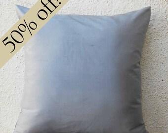 "Grey Color Silk Dupioni Pillow Cover 15 x 15  - ""HALF PRICE SALE"" - - s20F"