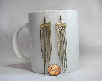BOHO Brass Chain Earrings Retro Long Brass Chain Earrings Very Economical & Frugal Jewelry