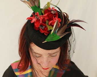 In-Stock: Vintage 1940s-Style Black Wool Felt Tilt Topper with Vintage Veil, Flowers, and Two Faux Hummingbirds