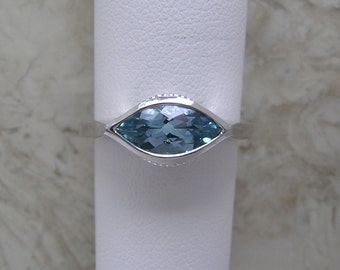 Aquamarine and Diamond Ring One Of A Kind 14K White Gold