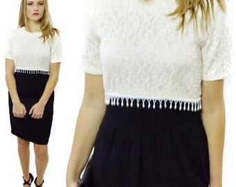 Vintage 80s CDC Evening Floral Lace Top Beaded Sheath Skirt Little Dress Sz 4