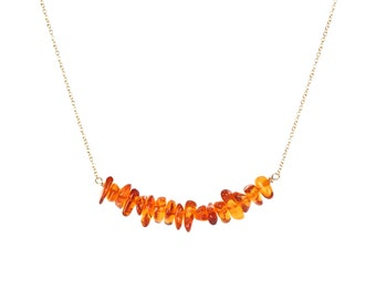 Amber necklace - fossil necklace - healing necklace - a row of of polished honey baltic amber on a 14k gold vermeil or sterling silver chain
