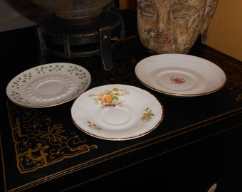 teacup saucers Set of 3 Danbury Boho Vintage plates  in 1980s  fine bone china