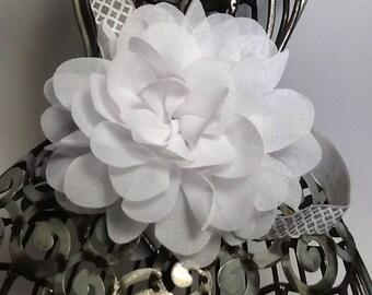 White headband, white chiffon flower, Christening headband, baptism headband, blessing headband, girls headband, baby headband