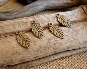 10x Little Leaf Charms, Antique Brass Pendants C198