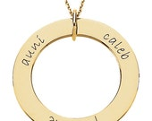 14k Engraved Mother's Pendant With Up To Five Names Per Side: Choose Rose, White or Yellow Gold