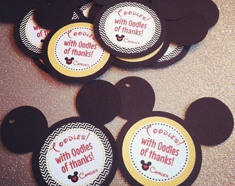 Mickey Mouse Thank You Tags, Favor tags, Gift tags - Personalized  - baby shower, birthday - set of 12